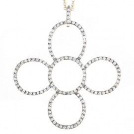 Sterling silver necklace daisy gold plated black platinum and white zircons Chain length 70-75cm