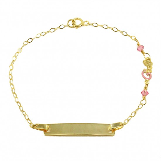 Children's bracelet gold K9 with the word girl with enamel and quartz 13110