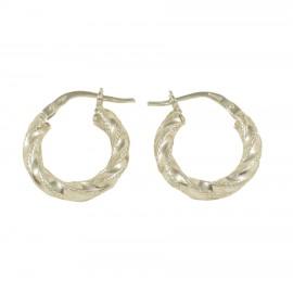 Earrings sterling silver rings with braid design 17517