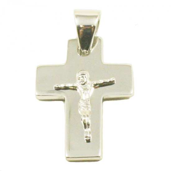 Sterling silver polished Cross with Crucified 32010