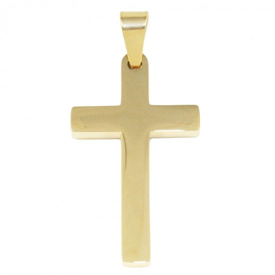 Stainless steel Cross for men in gold color SP981