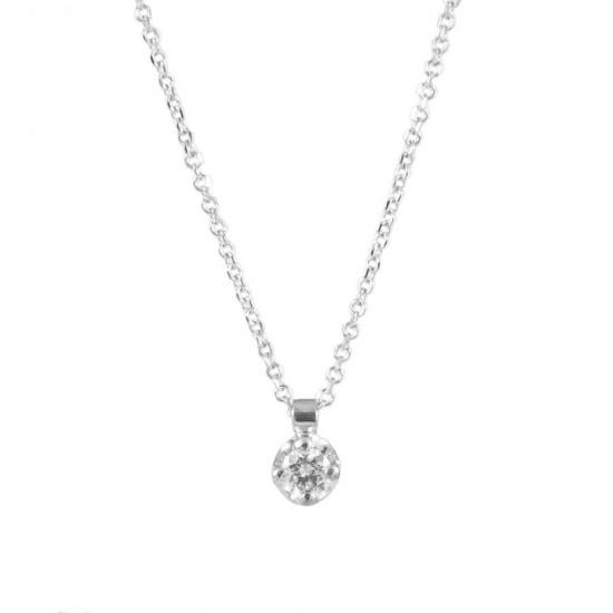 Κολιέ λευκόχρυσο Κ18 μονόπετρο με φυσικό διαμάντι ME586