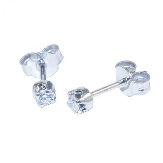 Σκουλαρίκια λευκόχρυσα Κ18 μονόπετρα με φυσικά διαμάντια SK3412