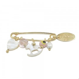 Children's nanny sterling silver gold plated semiprecious stone and enamel element
