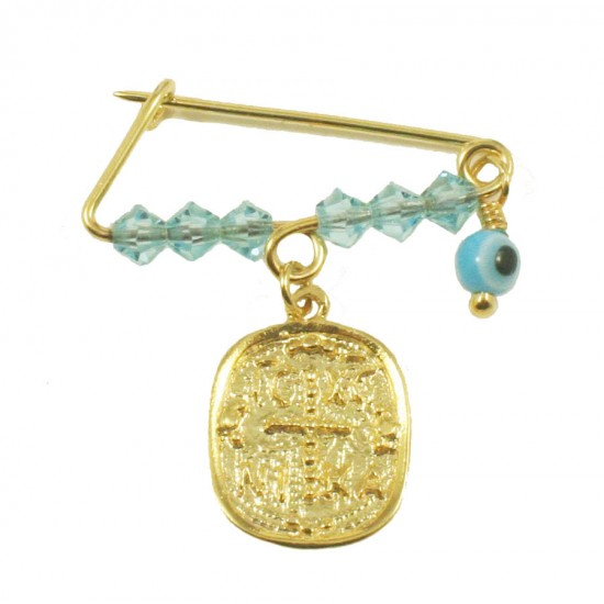 Children's nanny sterling silver gold plated with colorful quartz for baptism 190925