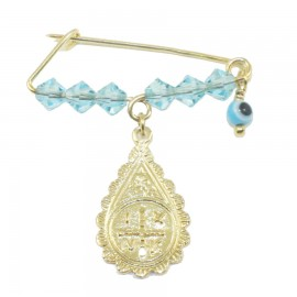 Children's nanny sterling silver gold plated with colorful quartz for baptism 090926