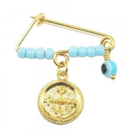 Children's nanny sterling silver gold plated with turquoise for baptism 190928