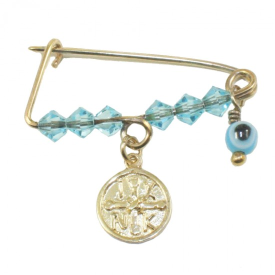 Children's nanny sterling silver gold plated with colorful quartz for baptism 196519B