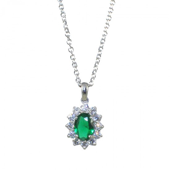 Silver necklace with rosette with white zircons and emerald stone 1584L1