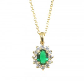 Silver necklace with rosette gold plated with white zircons and emerald color stone 1584L2