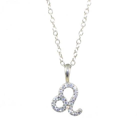 Silver necklace zodiac sign Leo platinum and white zircons Chain length 40-45cm