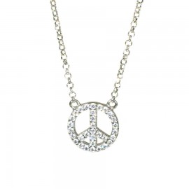 Necklace with silver badge platinum plated and white zircon Chain length 40-45cm