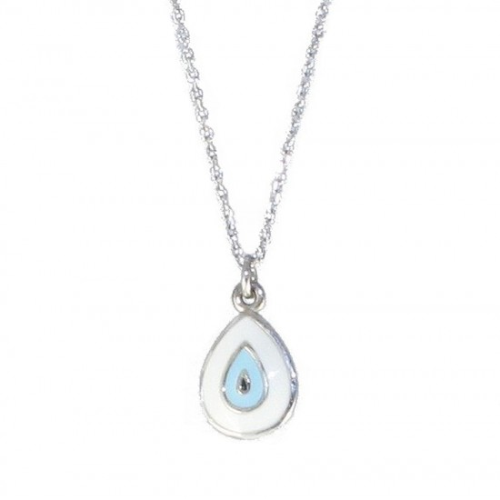 Sterling silver necklace with platinum polished and enamel Chain Length 40-45cm