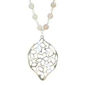 Silver rosary necklace with opal stones and silver motif in leaf design Necklace length 90cm