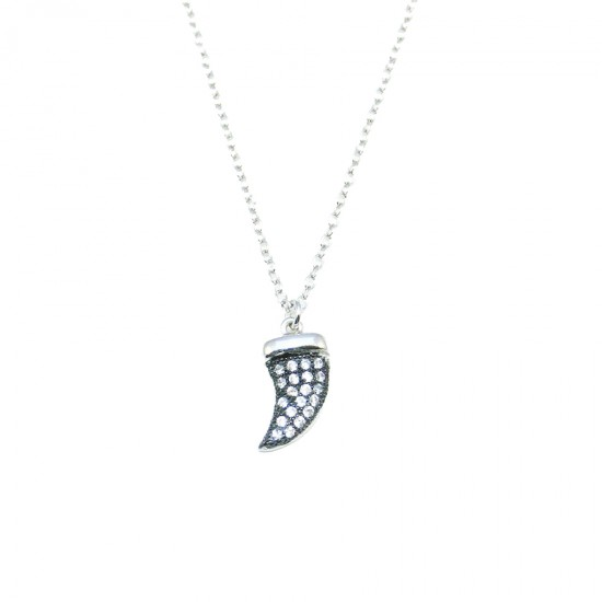 Sterling silver horn necklace with black platinum and white zircons Chain length 40-45cm