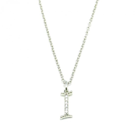 Silver necklace with letter I platinum and white zircons Chain length 40-45cm
