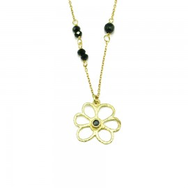 Gold plated necklace with flower design and black spinel Chain length 40-45cm