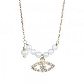Gold plated necklace with eye with white zircon and pearls Chain length 40-45cm