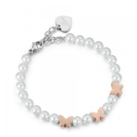 Bracelet with pearls and pink butterflies made of stainless steel  BK1835