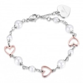 Bracelet with pearls and pink hearts made of stainless steel  BK1691