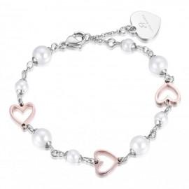 Βραχιόλι με μαργαριτάρια και ροζ καρδιές από ανοξείδωτο ατσάλι BK1691