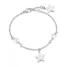 Βραχιόλι με λευκά μαργαριτάρια και αστέρι από ανοξείδωτο ατσάλι BK1687