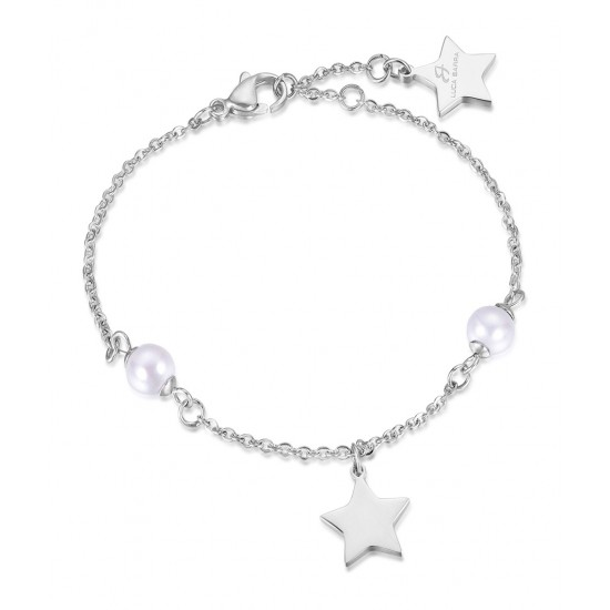 Stainless steel bracelet with white pearls and star  BK1687