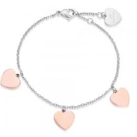 Βραχιόλι με ροζ καρδιές από ανοξείδωτο ατσάλι BK1661