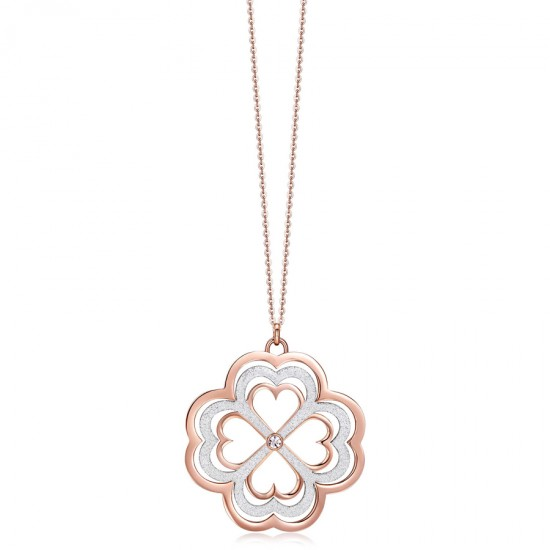 Necklace with the four-leaf clover of luck in pink color made of stainless steel  CK1095