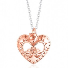 Necklace with pink heart and stainless steel chain CK1328