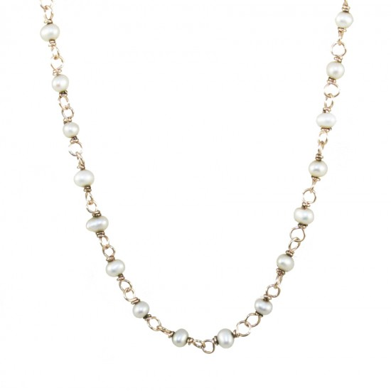 Silver rosary necklace with white pearls and rose gold plating, total length 40cm