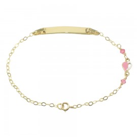 Children's bracelet gold K9 with heart with enamel and quartz for baptism 1410