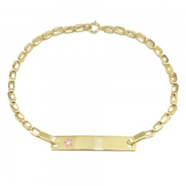 Children's bracelet gold K9 with flower with enamel for christening 16212