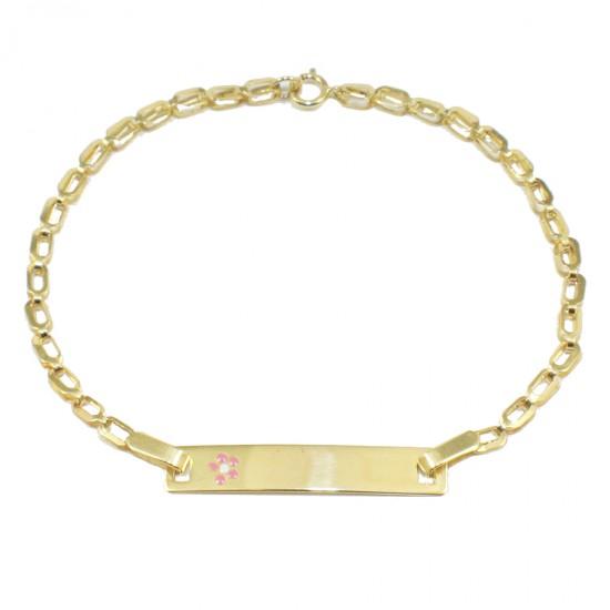 Children's bracelet gold K9 with flower with enamel for christening 16212