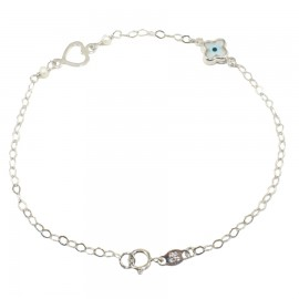 Children K14 platinum bracelet with heart and cross for christening 1010W