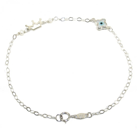 Baby K14 platinum bracelet with crown and cross for christening 1111W