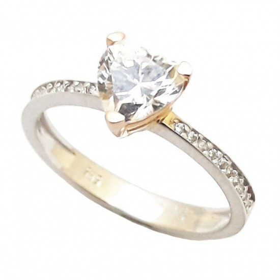 White gold wedding ring K14 with rose gold base and white zircons.