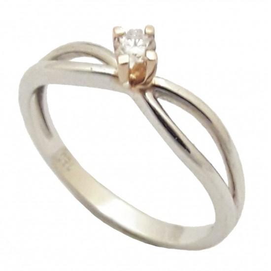 Δαχτυλίδι μονόπετρο χρυσό 18Κ δίχρωμο λευκό-ροζ βάρους 2,23gr με μπριγιάν 0,09ct χρώμα G και καθαρότητα VS No. 54
