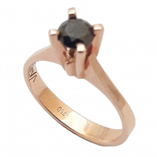 Rose Gold wedding ring K18 with black diamond 0,53ct