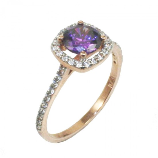 Ring rose gold K9 rosette with white zircons and stone in the color of amethyst  1818