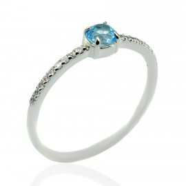 Ring white gold K14 solitaire with natural stone blue topaz and white zircons 18135W