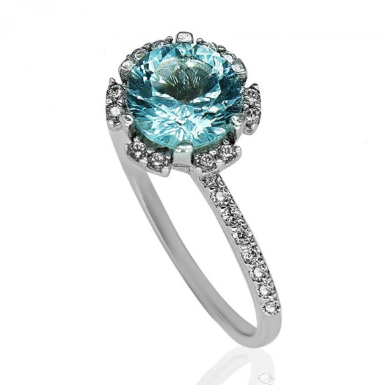 Ring white gold K14 rosette with stone in aquamarine color and white zircons No.56