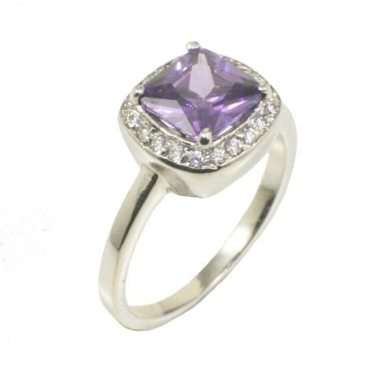 Δαχτυλίδι λευκόχρυσο Κ14 ροζέτα με πέτρα στο χρώμα του αμέθυστου 4120