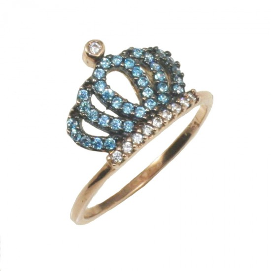 Ring rose gold K9 with crown in blue and white zircons 1732