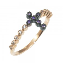Ring rose gold K9 with Cross in white and in the color of amethyst zircon 1420C