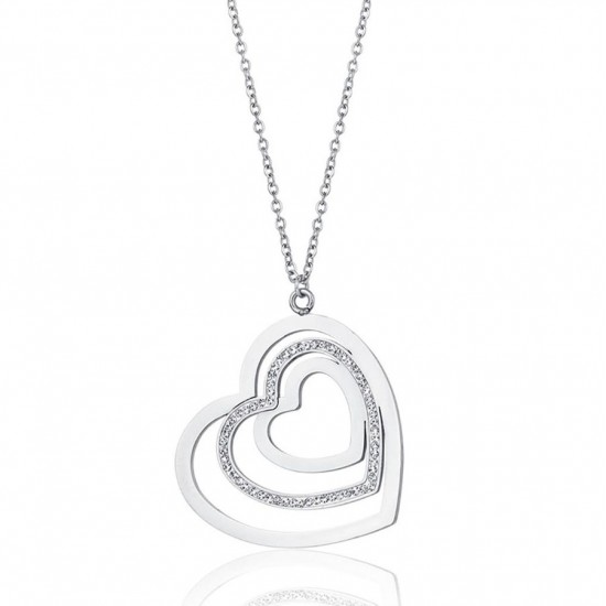 Necklace with heart and white crystals made of stainless steel  CK1469