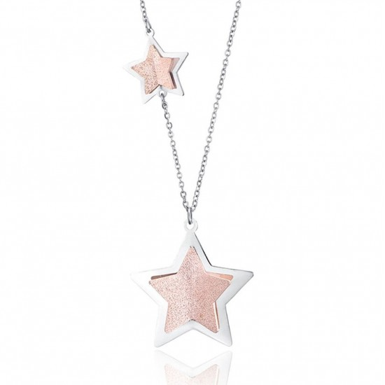 Necklace with stars and pink glitter made of stainless steel  CK1476