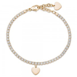 Gold color bracelet made of stainless steel with heart and white crystals  BK1969