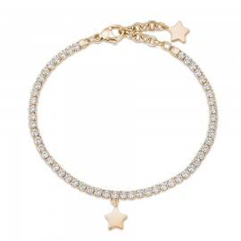 Bracelet with gold color made of stainless steel with star and white crystals  BK1966
