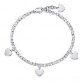 Bracelet with stainless steel hearts and white crystals  BK1967
